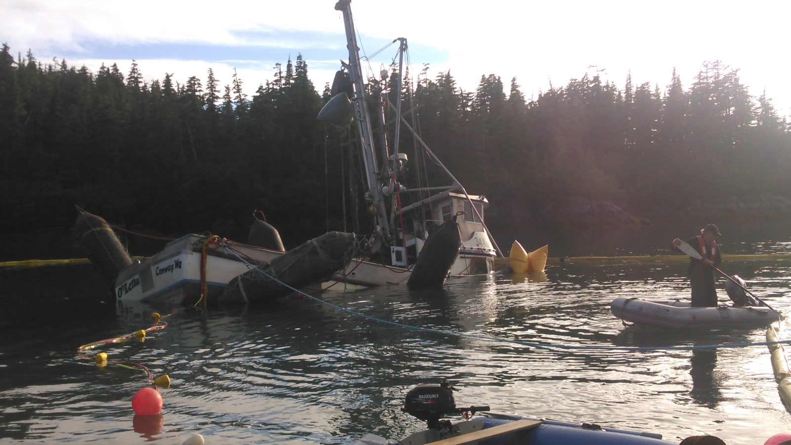A vessel on its keel being refloated.