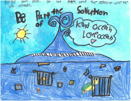 A children's drawing of the ocean.