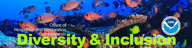 "A banner photo that reads ""Office of Response and Restoration Committee on Diversity & Inclusion"" with a variety of fish in the background."