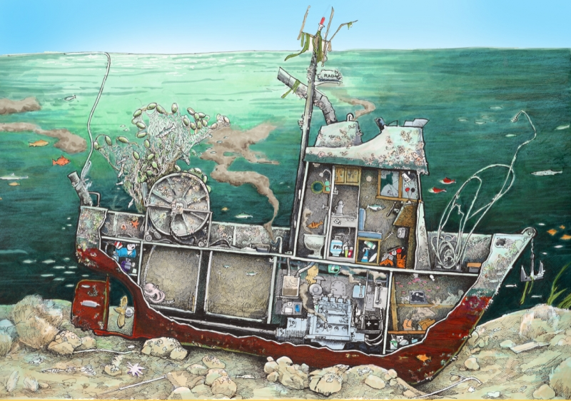 An illustration of a sunken vessel with a cutaway showing the various materials inside of the vessel.