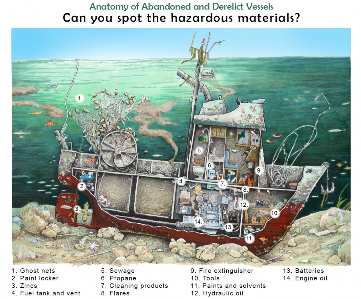 "An illustration of a sunken vessel with a cutaway showing various items inside the vessel. The illustration is labeled ""Anatomy of Abandoned and Derelict Vessels: Can you spot the hazardous materials?"" with a numbered list corresponding to the illustration. The items include: 1. Ghost nets, 2. paint locker, 3. zincs, 4. fuel tank and vent, 5. sewage, 6. propane, 7. cleaning products, 8. flares, 9. fire extinguisher, 10. tools, 11. paints and solvents, 12. hydraulic fluid, 13. batteries, 14. engine oil"