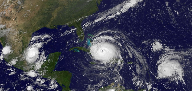 A satellite image of hurricanes.