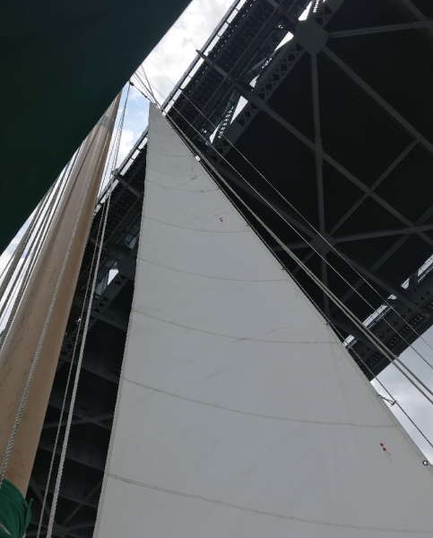 View of underside of bridge from a sailboat.