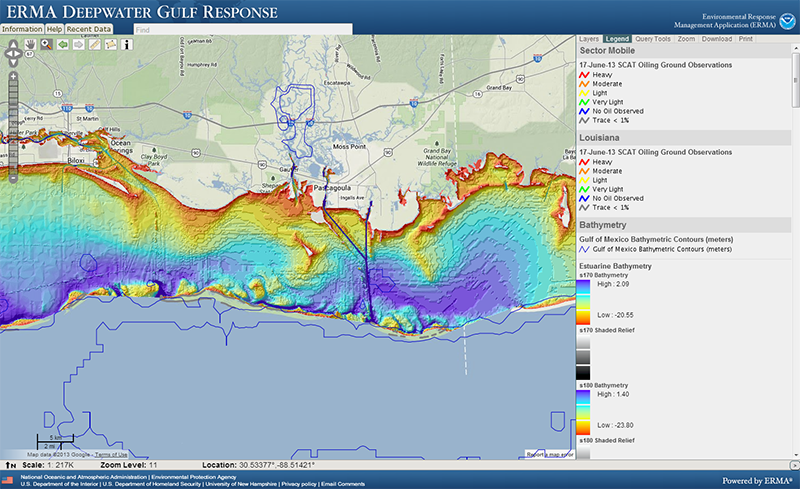 A screenshot of a mapping tool with a range of colors depicting underwater terrain.
