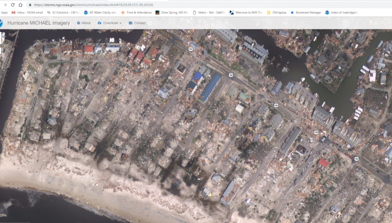 A satellite image a an area showing hurricane damage.