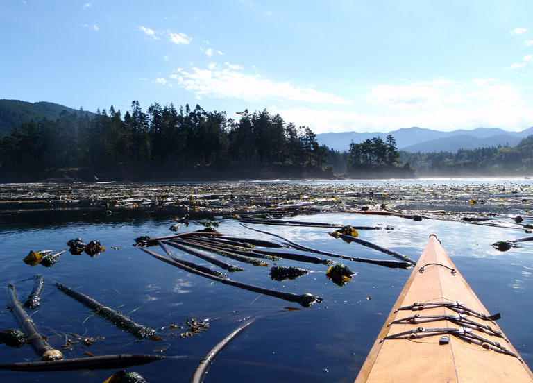 A view of a body of water with mountains in the background and the front of a kayak in the foreground.