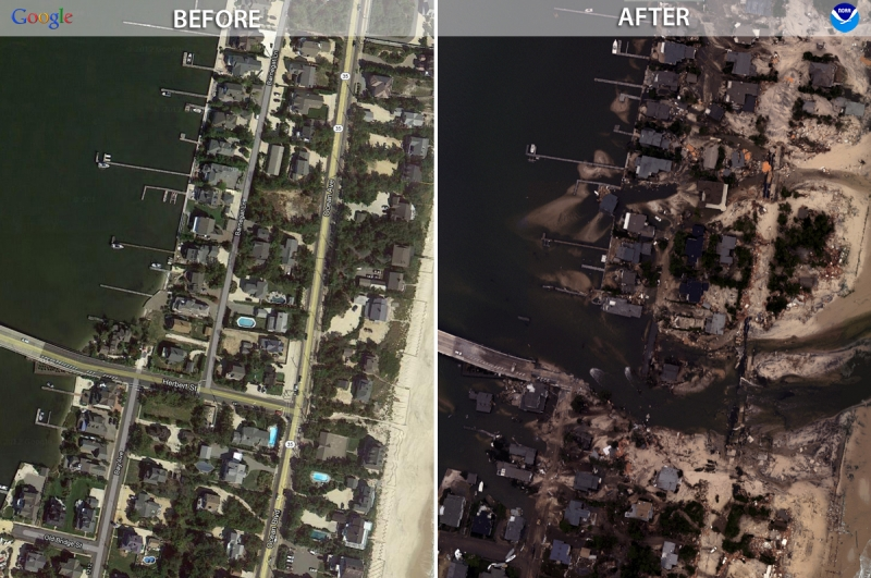 "Two satellite images side by side showing ""before"" and ""after"" — with the after depicting flooded areas along the shoreline."