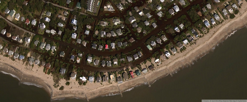 An aerial photo of a residential beach area.