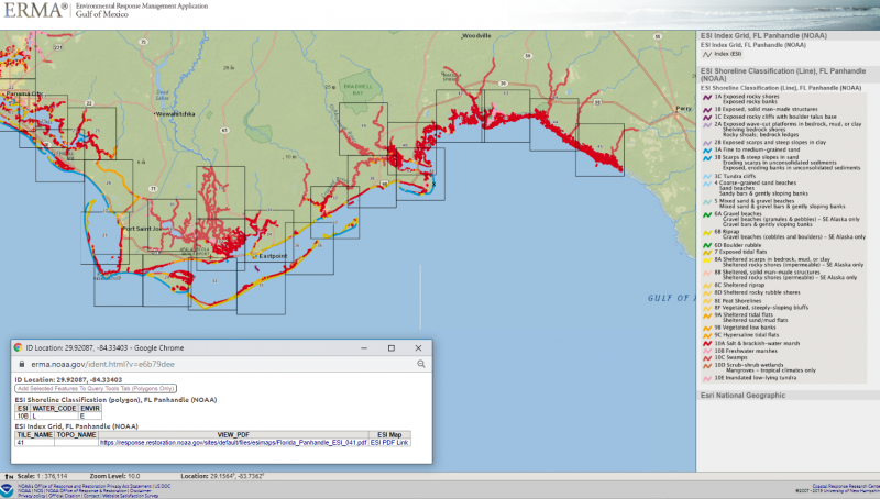 A mapping software depicts the Florida Pandhandle with areas on the shoreline highlighted in red.
