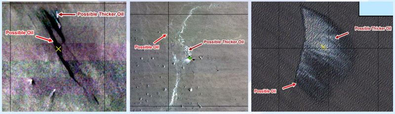 "Three side-by-side black-and-white satellite images depicting areas of ""possible oil."""