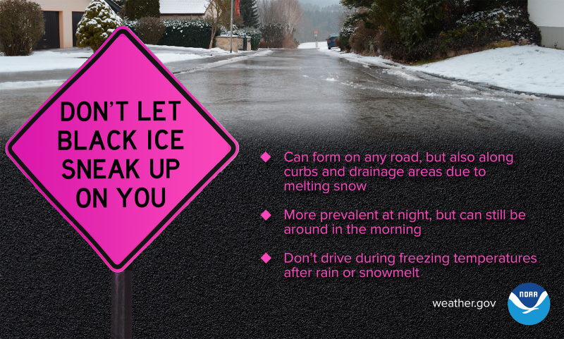 "A road sign that reads ""Don't let black ice sneak up on you."""