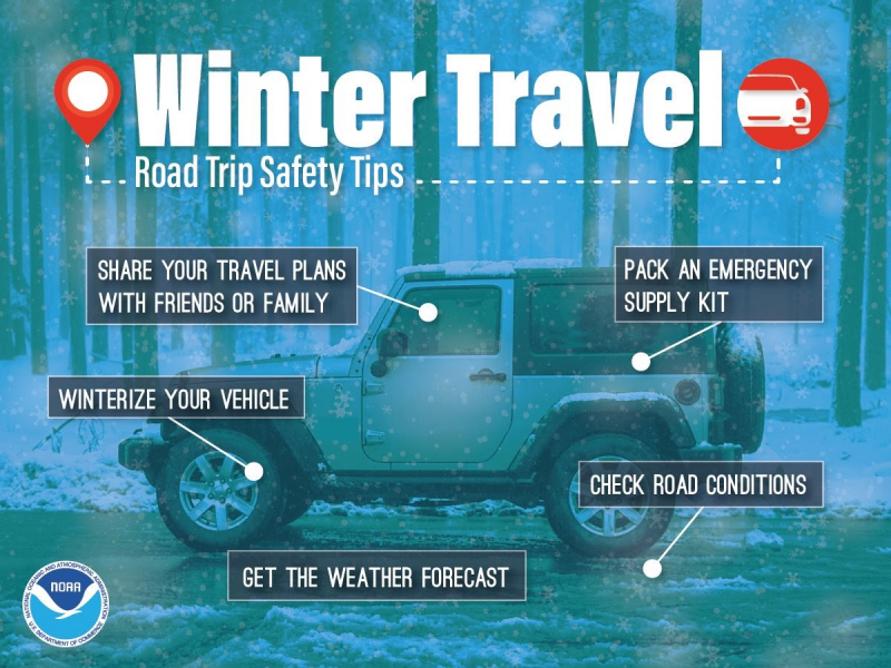 "A picture of a jeep with ""winter preparedness tips."""