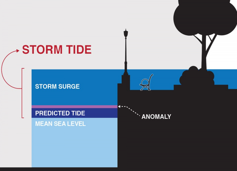 An infographic depicting a storm tide.