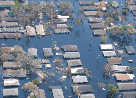 An overflight of a flooded residential area.