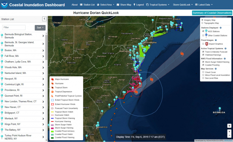 A screenshot of the Coastal Inundation Dashboard.