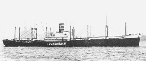 A black and white photo of a ship.
