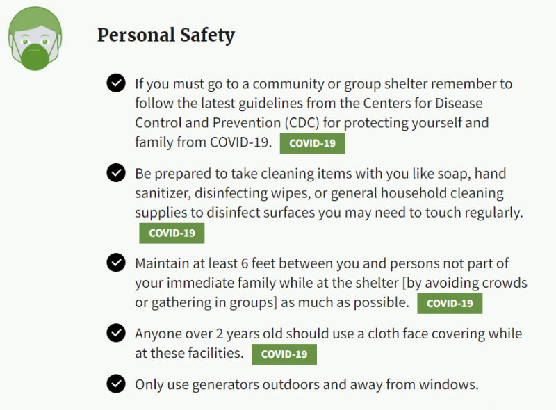 "A ""Personal Safety"" bullet list advising people to: follow CDC guidelines for COVID-19 if you have to go to a hurricane shelter, include cleaning items in supply planning, and maintain social distancing."