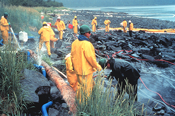 Workers in yellow doing cleanup operations on a rocky shoreline.