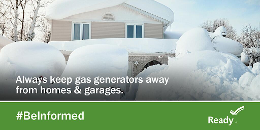 "A house covered in snow with text reading ""Keep gas generators away from homes and garages."""