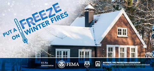 "A picture of a house with snow on it that reads ""Put a freeze on winter fires."""