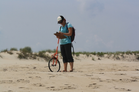 A woman on a beach holding a clipboard and a wheeled-instrument.