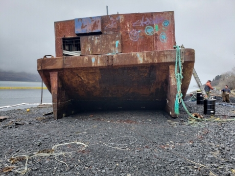 A beached barge.