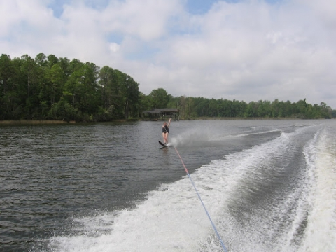 A child waterskiing.