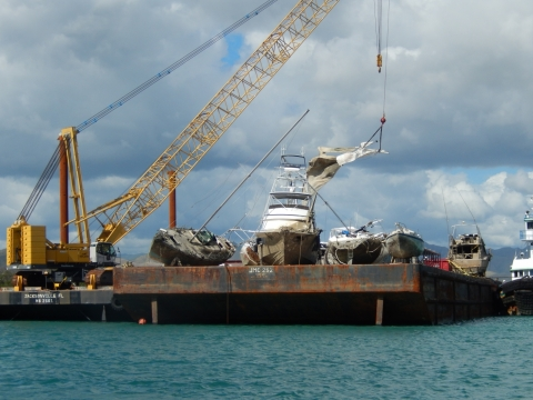 A crane barge where vessels are stored.