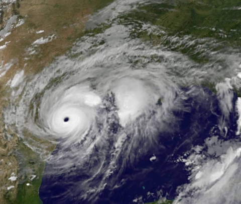 A satellite image depicting a hurricane over Texas.