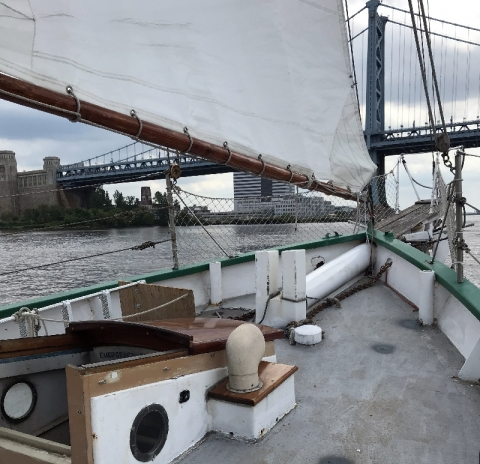 View of the Ben Franklin Bridge from the bow of the boat.