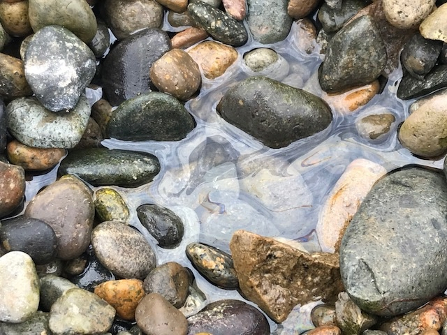 A close up of oiled water and rocks.