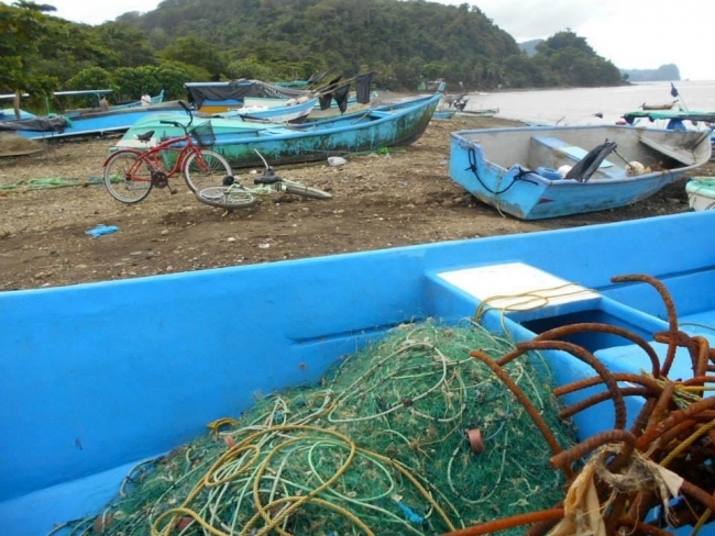 Fish netting in a boat on a beach.