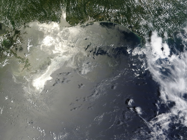 A satellite image of an oil spill in the Gulf of Mexico.