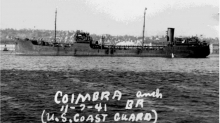 "A black and white image of a vessel labeled ""Coimbra."""