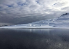 A landscape view of an arctic coast.