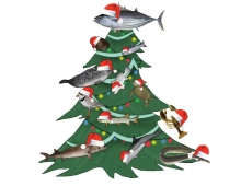 An animated image of a Christmas tree with fish and other marine animals on it.