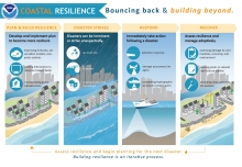 "An infographic titled ""Coastal Resilience: Bouncing Back & Building Beyond."""