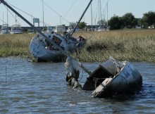 Damaged vessels and debris.