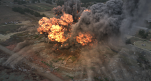 An aerial image of an explosion.